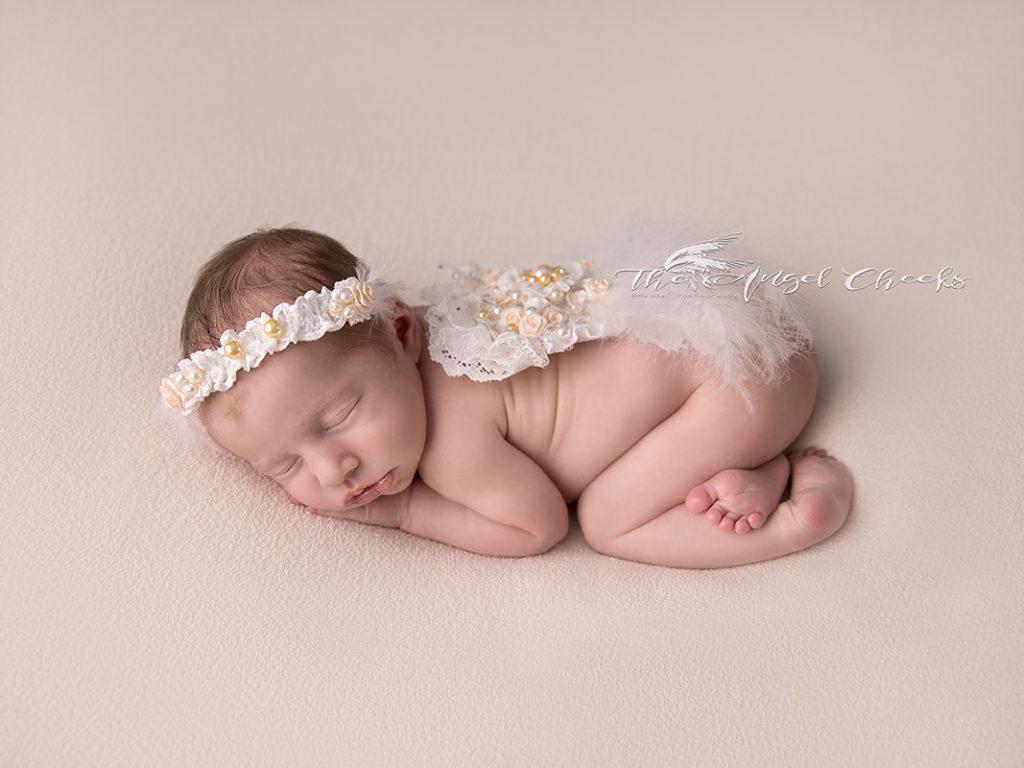 Sweet little angel newborn girl baby photographer Buckinghamshire